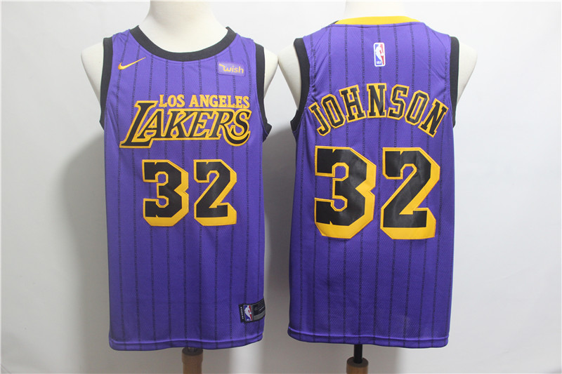 Lakers 32 Magic Johnson Purple 2019 City Edition Nike Swingman Jersey