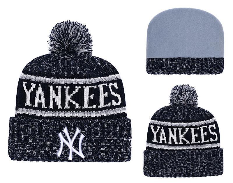 Yankees Banner Block Cuffed Pom Knit Hat YD