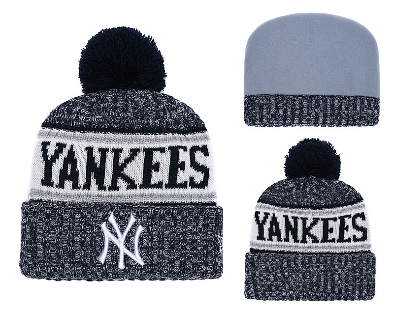 Yankees Gray Banner Block Cuffed Knit Hat With Pom YD
