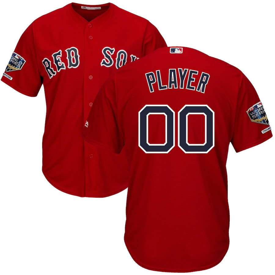 Red Sox Scarlet Men's 2018 World Series Champions Alternate Cool Base Customized Jersey