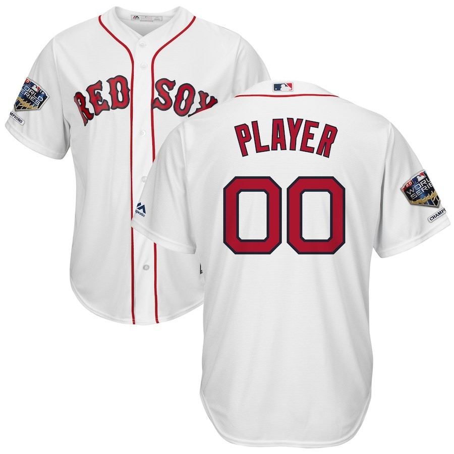 Red Sox White Men's 2018 World Series Champions Alternate Cool Base Customized Jersey