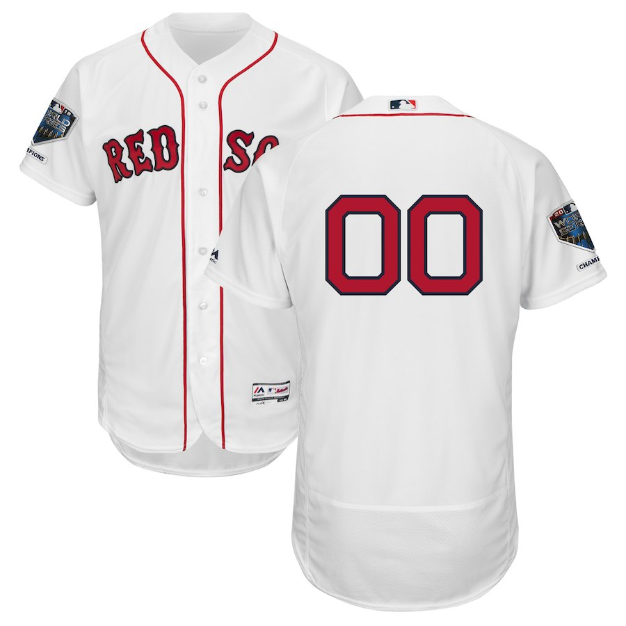Red Sox White Men's 2018 World Series Champions Home Flexbase Customized Jersey