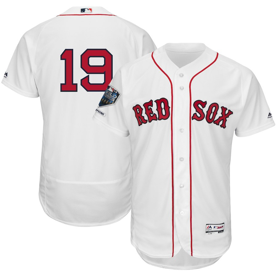 Red Sox 19 Jackie Bradley Jr. White 2018 World Series Champions Home Flexbase Player Jersey