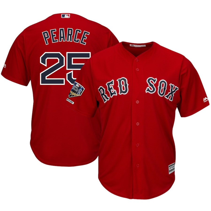 Red Sox 25 Steve Pearce Scarlet 2018 World Series Champions Alternate Cool Base Player Jersey