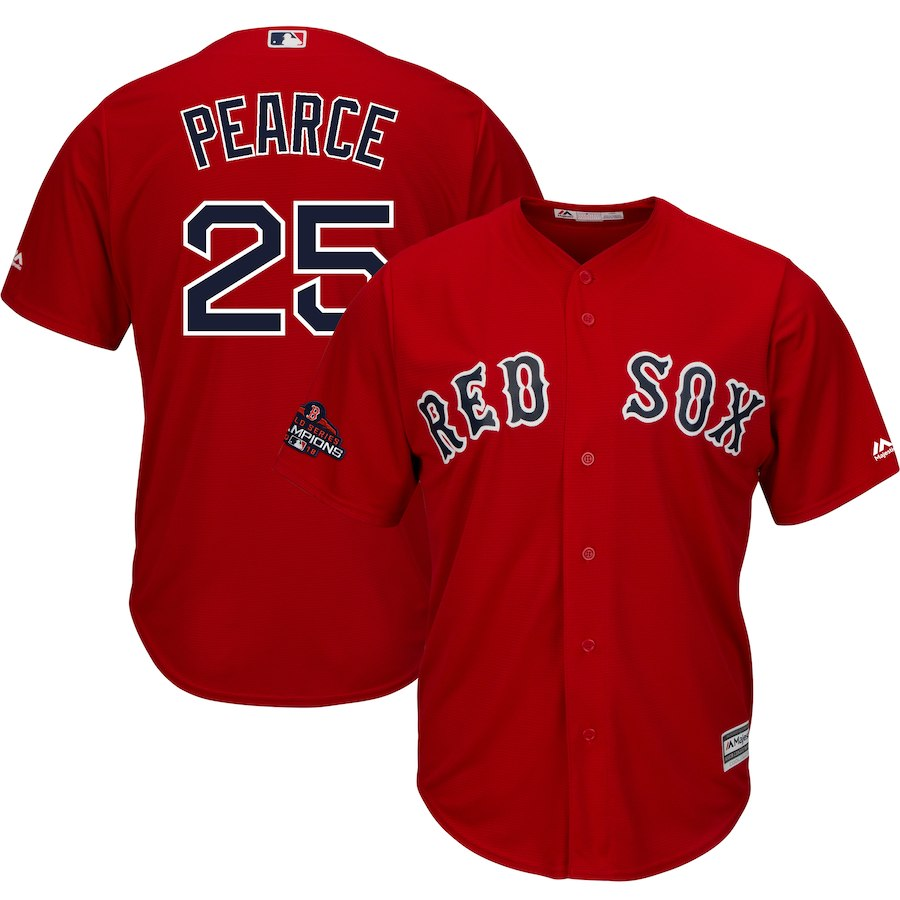 Red Sox 25 Steve Pearce Scarlet 2018 World Series Champions Team Logo Player Jersey