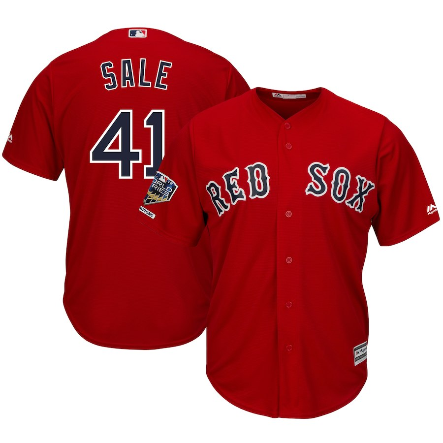 Red Sox 41 Chris Sale Scarlet 2018 World Series Champions Alternate Cool Base Player Jersey