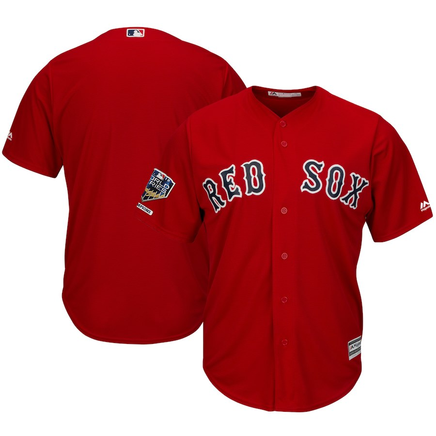 Red Sox Blank Scarlet 2018 World Series Champions Alternate Cool Base Team Jersey