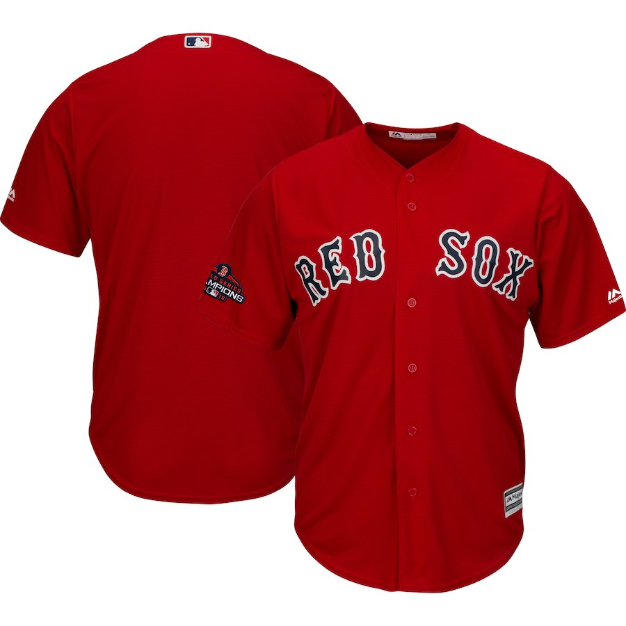 Red Sox Blank Scarlet 2018 World Series Champions Team Logo Jersey