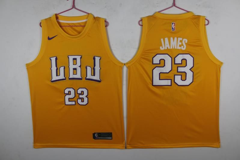 Lakers 23 Lebron James LBJ Gold Nike Swingman Jersey