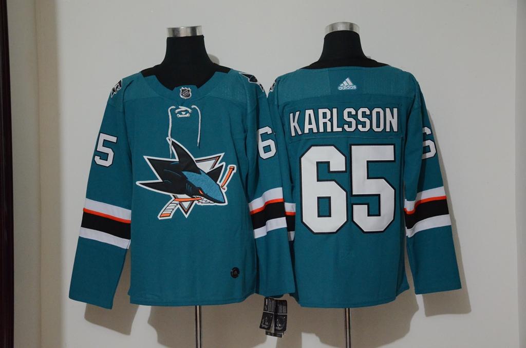 Sharks 65 Erik Karlsson Teal Adidas Jersey
