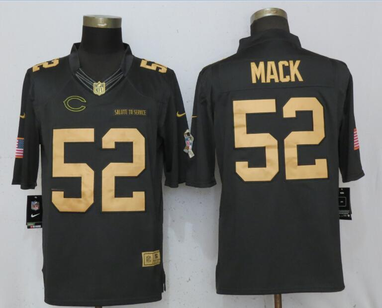 Nike Bears 52 Khalil Mack Anthracite Gold Salute To Service Limited Jersey