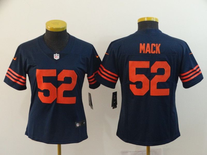 Nike Bears 52 Khalil Mack Navy Throwback Women Vapor Untouchable Limited Jersey