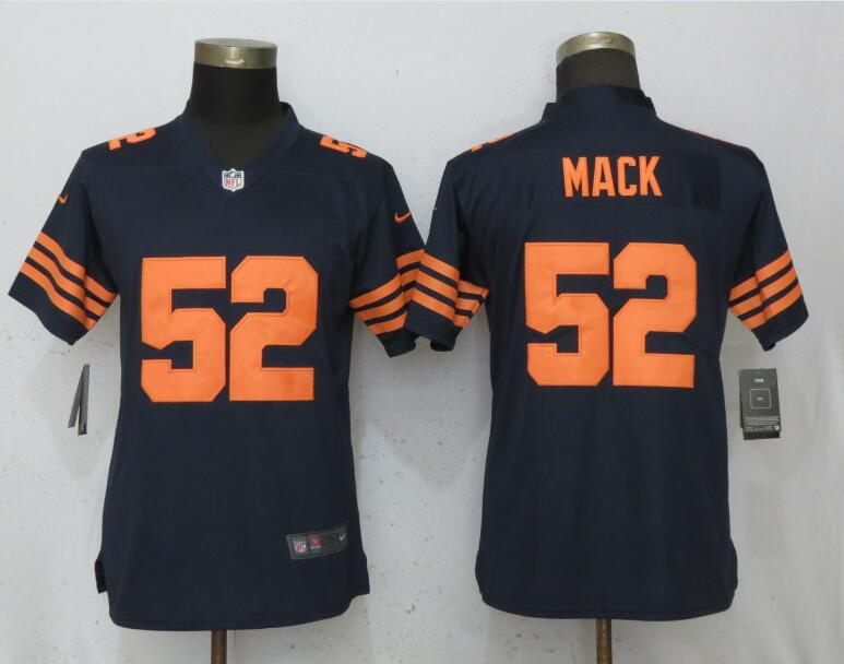 Nike Bears 52 Khalil Mack Navy Women Throwback Vapor Untouchable Limited Jersey