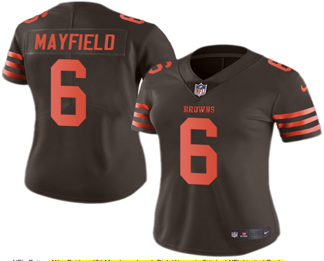 Nike Browns 6 Baker Mayfield Brown Women Color Rush Limited Jersey