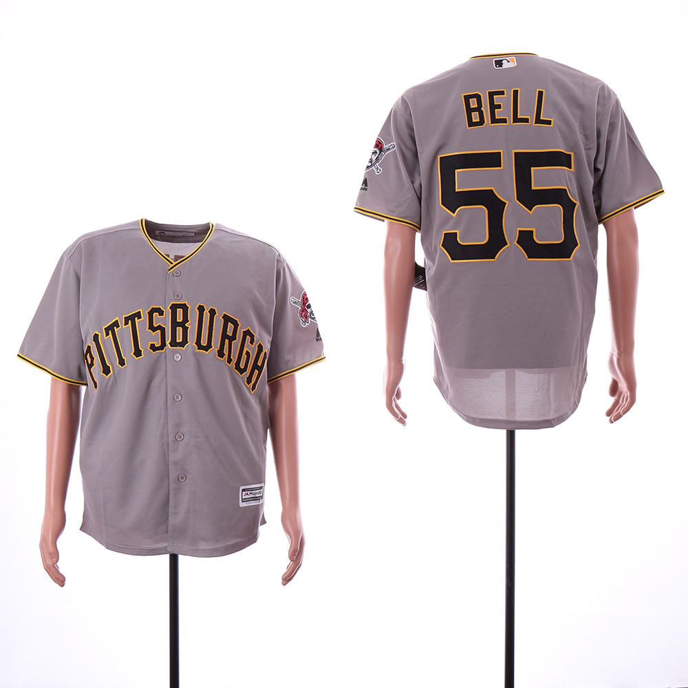 Pirates 55 Josh Bell Gray Cool Base Jersey