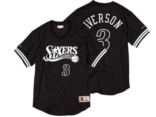 76ers 3 Allen Iverson Black Short Sleeve Mitchell & Ness Jersey