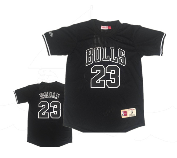 Bulls 23 Michael Jordan Black Short Sleeve Mitchell & Ness Jersey