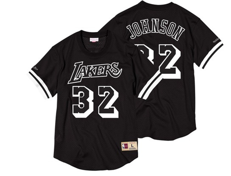 Lakers 32 Magic Johnson Black Short Sleeve Mitchell & Ness Jersey