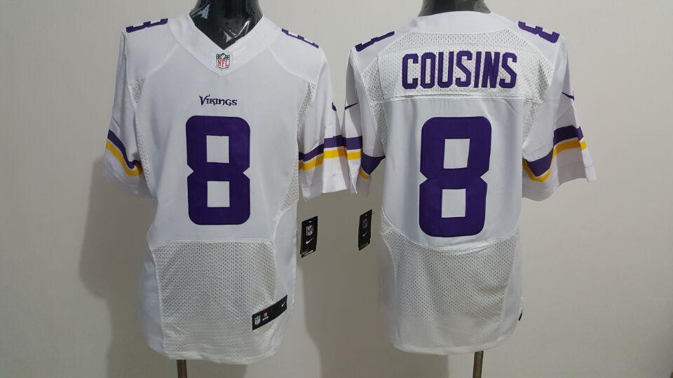 Nike Vikings 8 Kirk Cousins White Elite Jersey