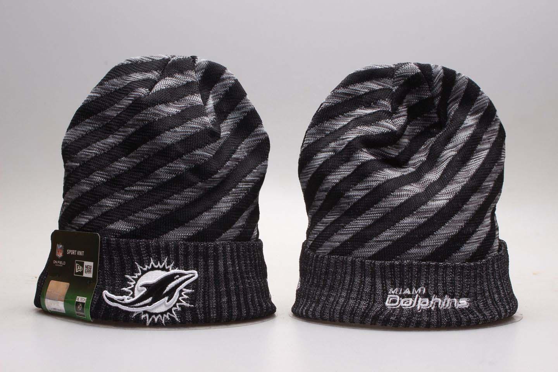 Dolphins Fresh Logo Gray & Black Knit Hat YP