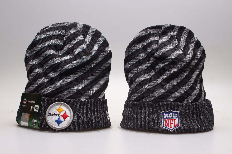 Steelers Team Logo Gray & Black Knit Hat YP