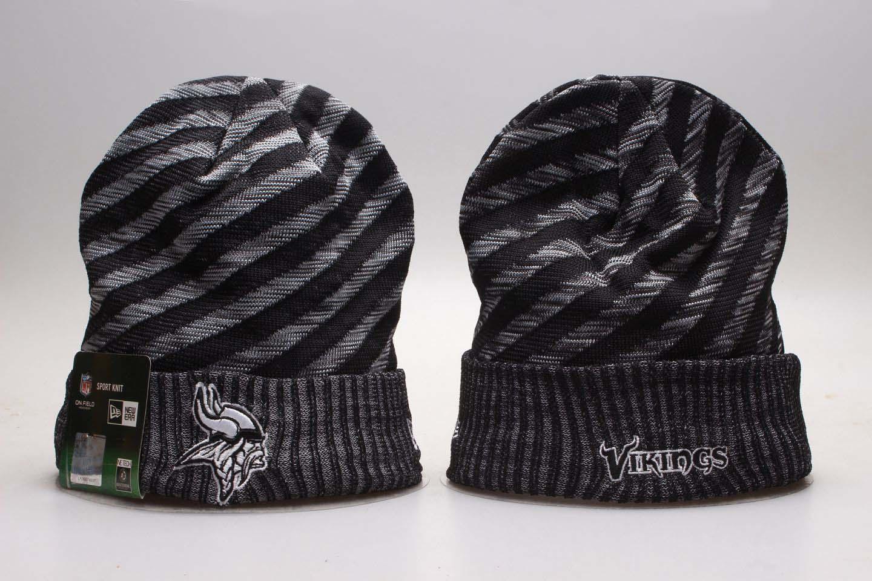 Vikings Fresh Logo Gray & Black Knit Hat YP