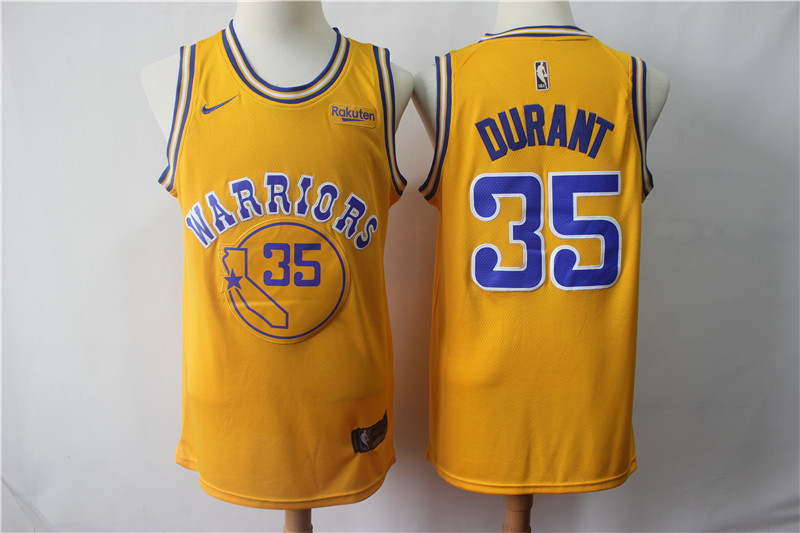 Warriors 35 Kevin Durant Gold Nike Swingman Jersey