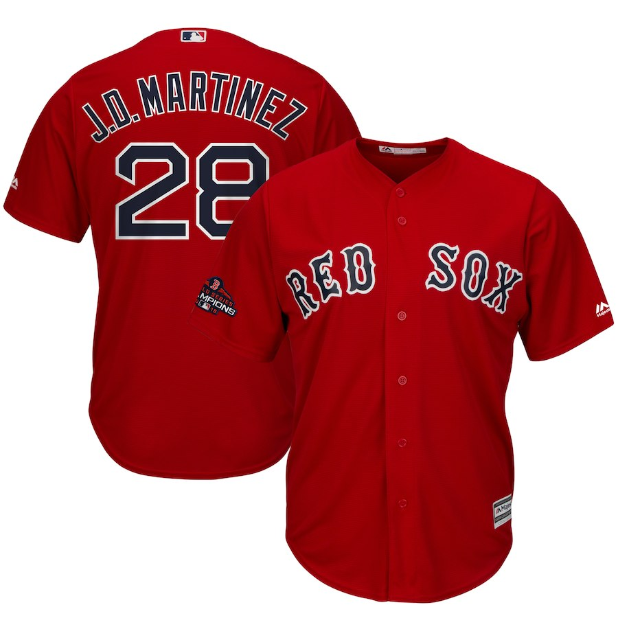 Red Sox 28 J.D. Martinez Red Youth 2018 World Series Champions Cool Base Jersey