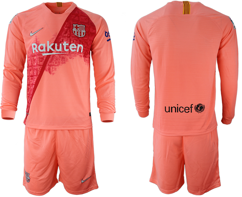 2018-19 Barcelona Third Away Long Sleeve Soccer Jersey