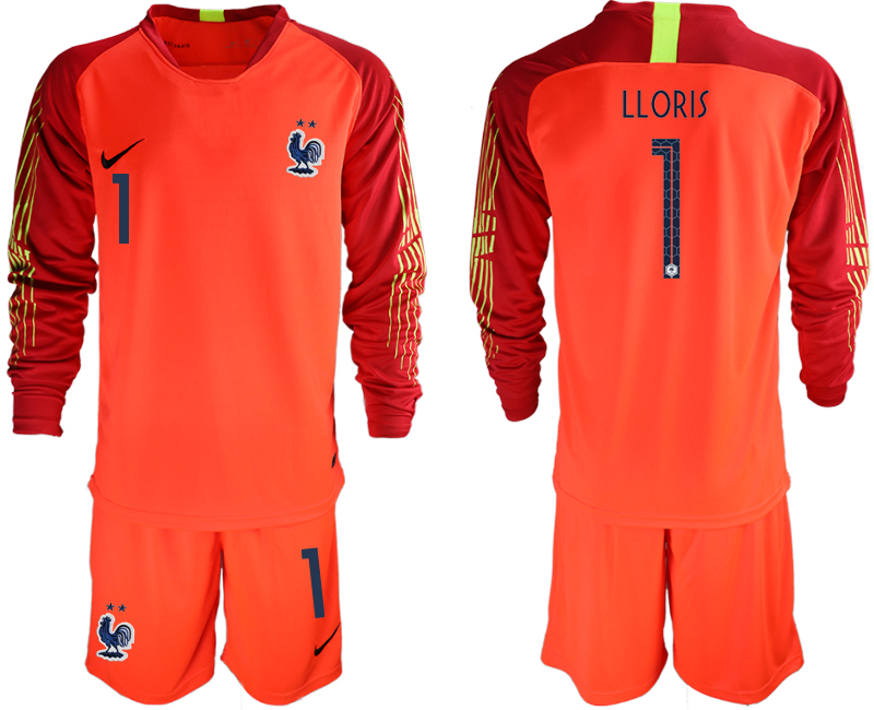 France 1 LLORIS 2-Star Red Long Sleeve 2018 FIFA World Cup Goalkeeper Soccer Jersey