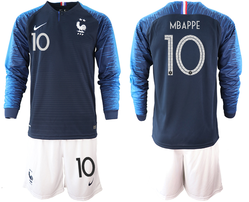 France 10 MBAPPE 2-Star Home Long Sleeve 2018 FIFA World Cup Soccer Jersey
