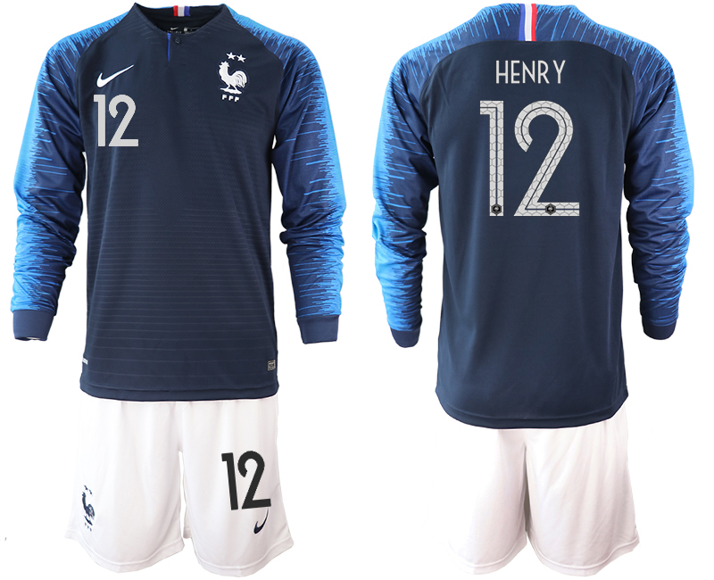 France 12 HENRY 2-Star Home Long Sleeve 2018 FIFA World Cup Soccer Jersey