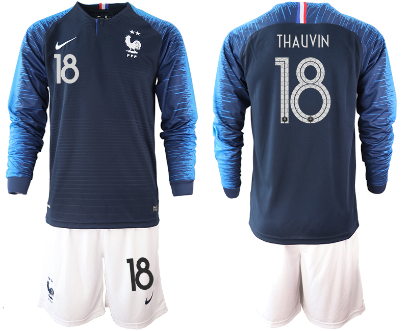 France 18 THAUVIN 2-Star Home Long Sleeve 2018 FIFA World Cup Soccer Jersey