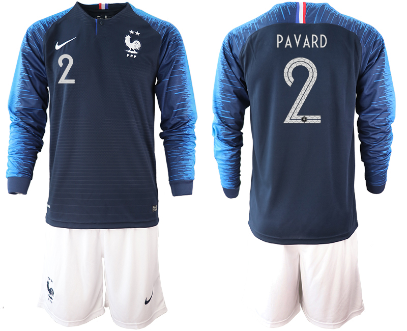 France 2 PAVARD 2-Star Home Long Sleeve 2018 FIFA World Cup Soccer Jersey
