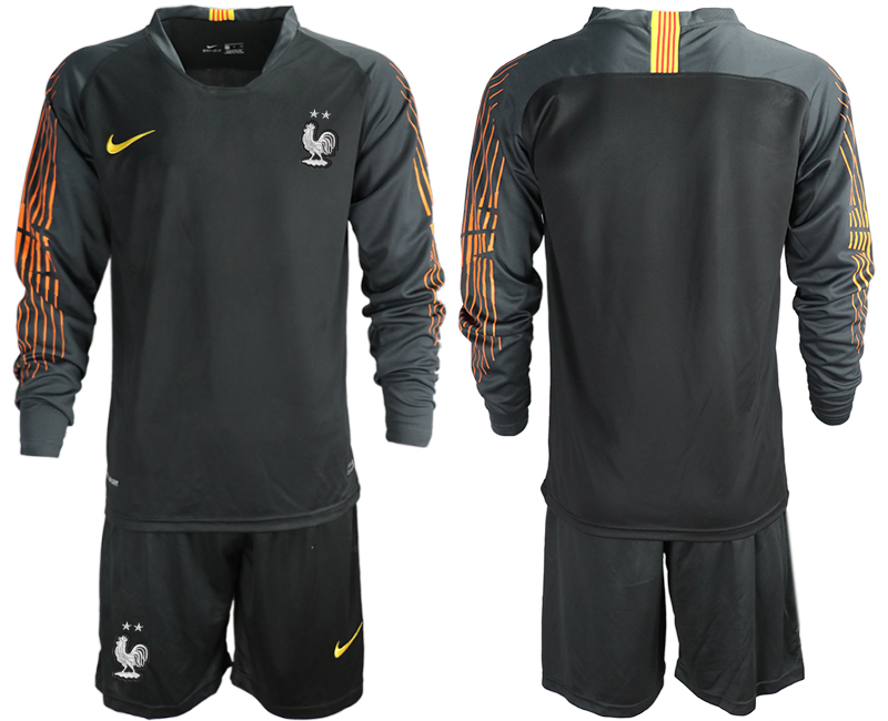 France 2-Star Black Long Sleeve 2018 FIFA World Cup Goalkeeper Soccer Jersey