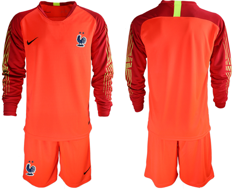 France 2-Star Red Long Sleeve 2018 FIFA World Cup Goalkeeper Soccer Jersey