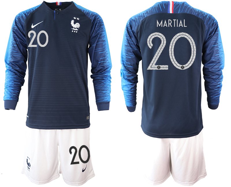 France 20 MARTIAL 2-Star Home Long Sleeve 2018 FIFA World Cup Soccer Jersey