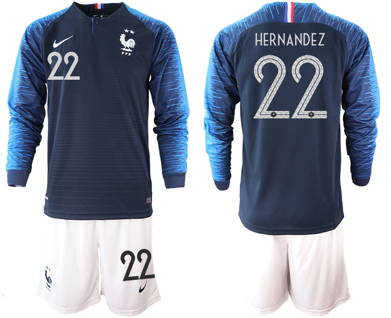 France 22 HERNANDEZ 2-Star Home Long Sleeve 2018 FIFA World Cup Soccer Jersey