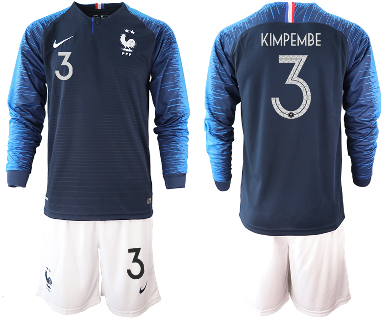 France 3 KIMPEMBE 2-Star Home Long Sleeve 2018 FIFA World Cup Soccer Jersey
