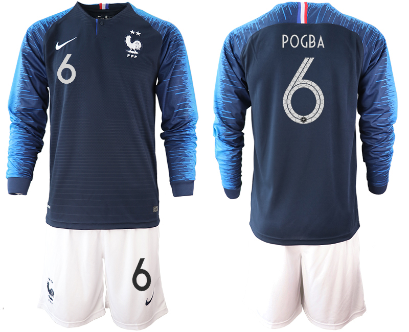 France 6 POGBA 2-Star Home Long Sleeve 2018 FIFA World Cup Soccer Jersey