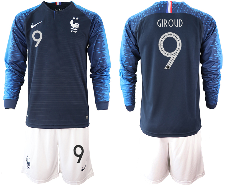 France 9 GIROUD 2-Star Home Long Sleeve 2018 FIFA World Cup Soccer Jersey