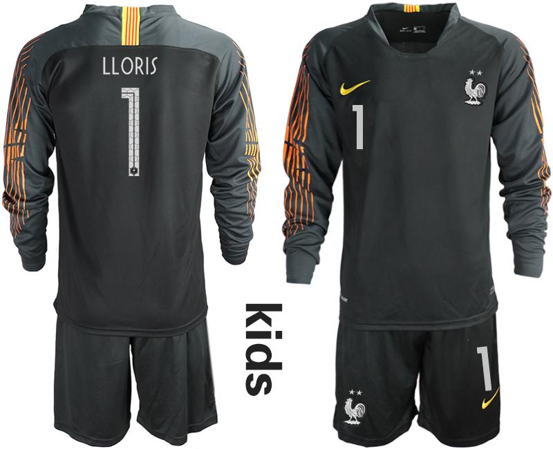 France 1 LLORIS 2-Star Black Youth Long Sleeve 2018 FIFA World Cup Goalkeeper Soccer Jersey