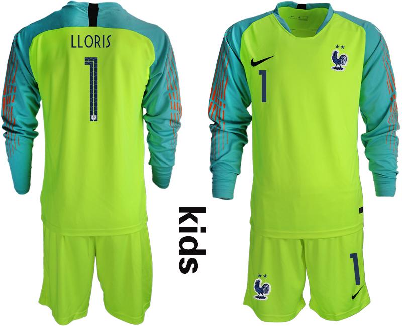 France 1 LLORIS 2-Star Fluorescent Green Youth Long Sleeve 2018 FIFA World Cup Goalkeeper Soccer Jersey
