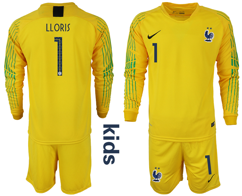 France 1 LLORIS Yellow 2-Star Youth 2018 FIFA World Cup Goalkeeper Soccer Jersey