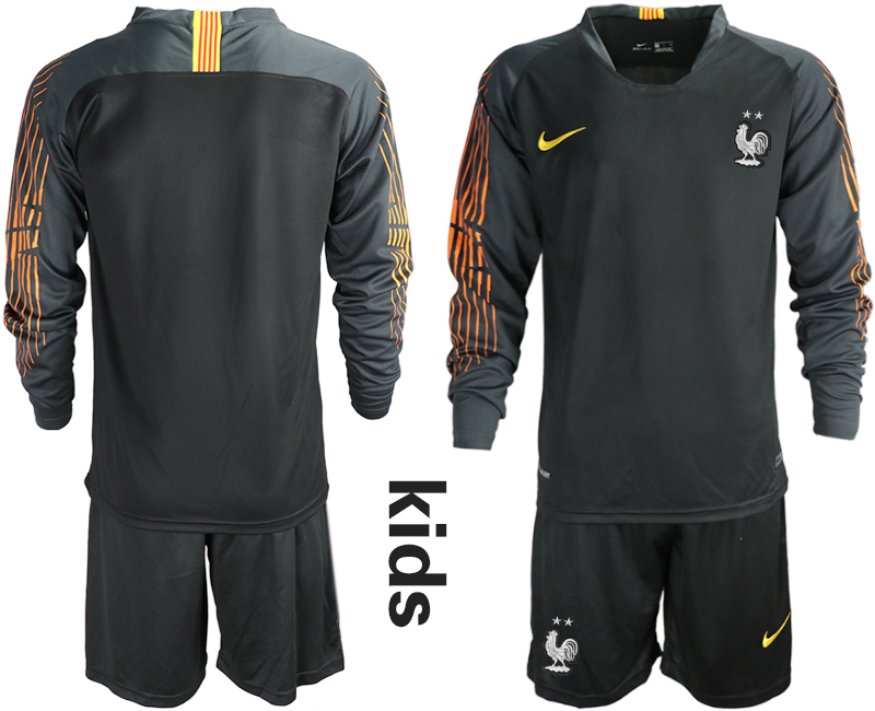 France 2-Star Black Youth Long Sleeve 2018 FIFA World Cup Goalkeeper Soccer Jersey
