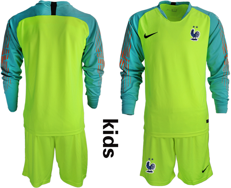 France 2-Star Fluorescent Green Youth Long Sleeve 2018 FIFA World Cup Goalkeeper Soccer Jersey