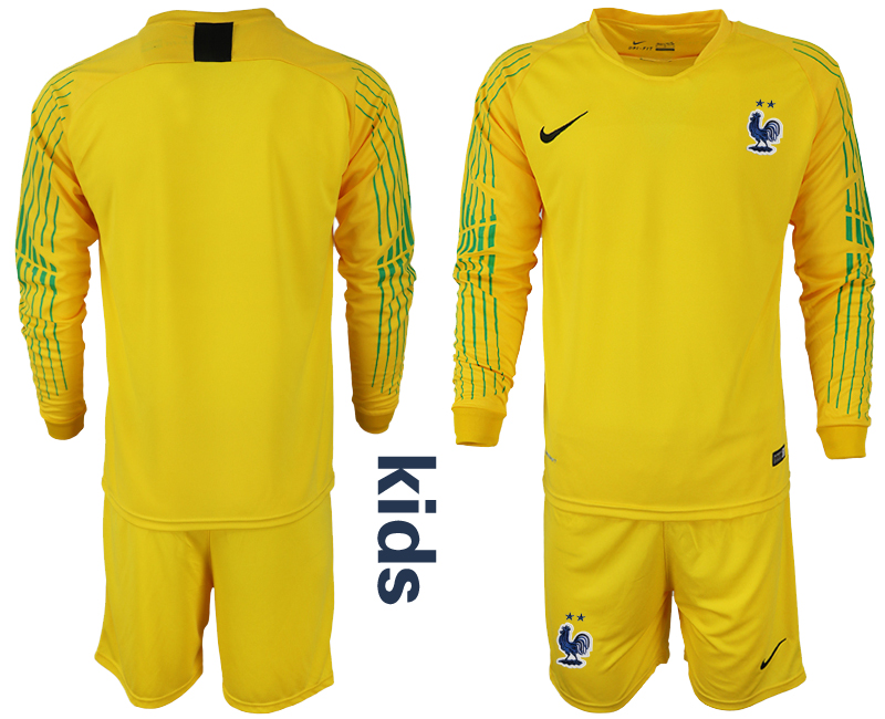 France Yellow 2-Star Youth 2018 FIFA World Cup Goalkeeper Soccer Jersey