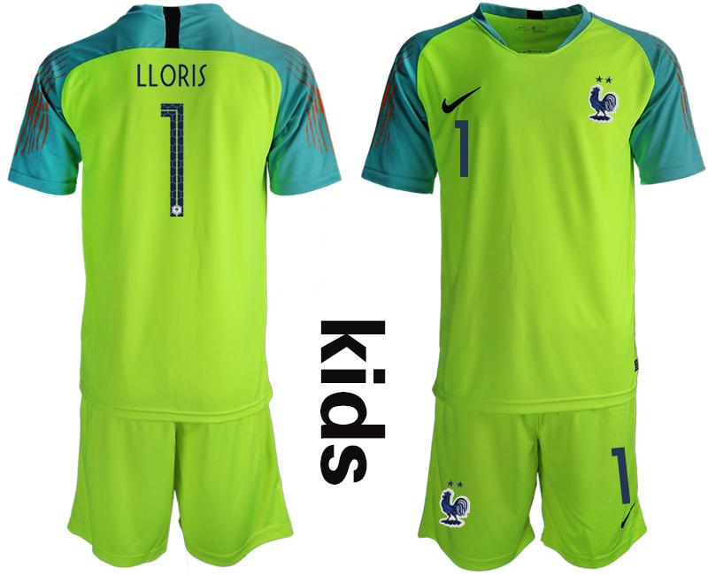 France 1 LLORIS 2-Star Fluorescent Green Youth 2018 FIFA World Cup Goalkeeper Soccer Jersey