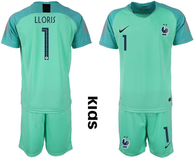France 1 LLORIS Green 2-Star Youth 2018 FIFA World Cup Goalkeeper Soccer Jersey