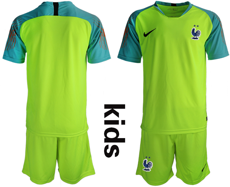 France 2-Star Fluorescent Green Youth 2018 FIFA World Cup Goalkeeper Soccer Jersey